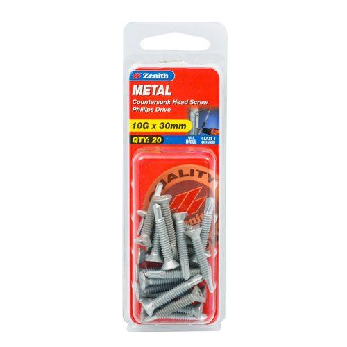 Zenith 10G x 30mm Metal Countersunk Head Screw - 20 Pack