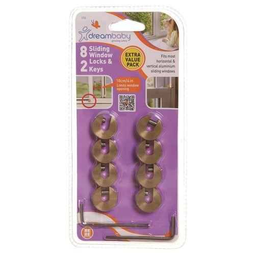 Dreambaby Brass 2 Keys Child Safety Window Locks - 8 Pack