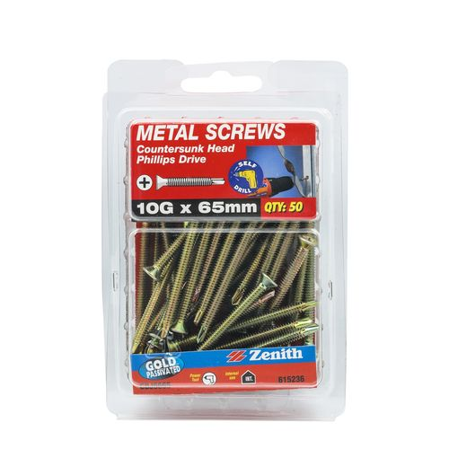 Zenith 10G x 65mm Gold Passivated Countersunk Head Metal Screws - 50 Pack