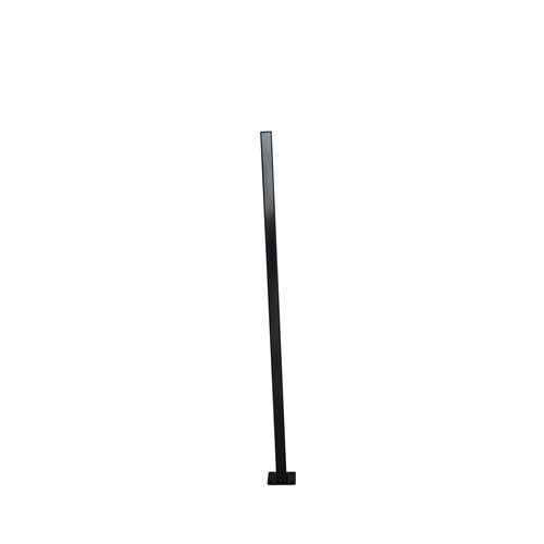 Protector Aluminium 50 x 50 x 1000mm Flanged Fence Post with Black Plastic Cap - Satin Black