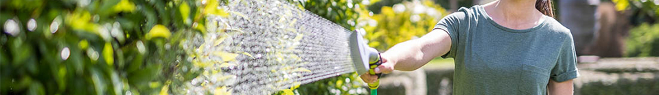 Close-up of person using McGregor's hose on their plants