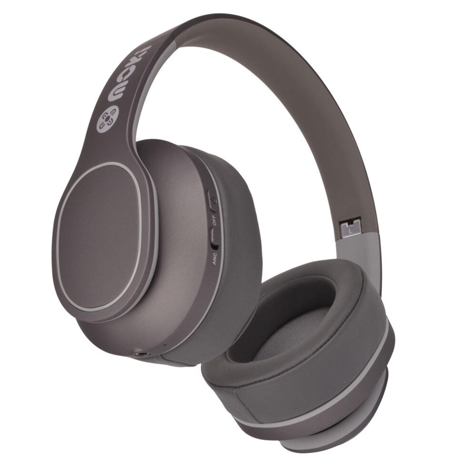 Moki Navigator Noise Cancellation Bluetooth Headphones On Ear Cup Headband Grey