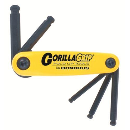Bondhus Gorillagrip Fold-Up Hex Key Set  5pc Imperial