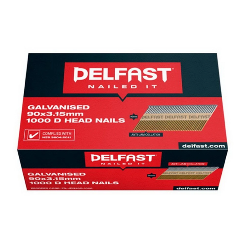 Delfast 3.15 x 90mm Nail Collated D-Head Galvanised Gasless - 1000 Pack