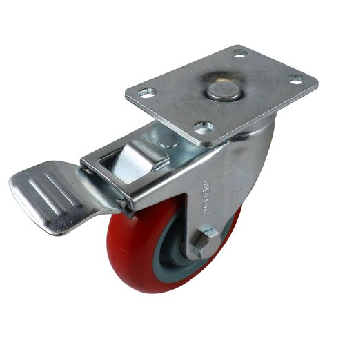 Move It 100mm 150kg Red Poly Swivel Brake Castor