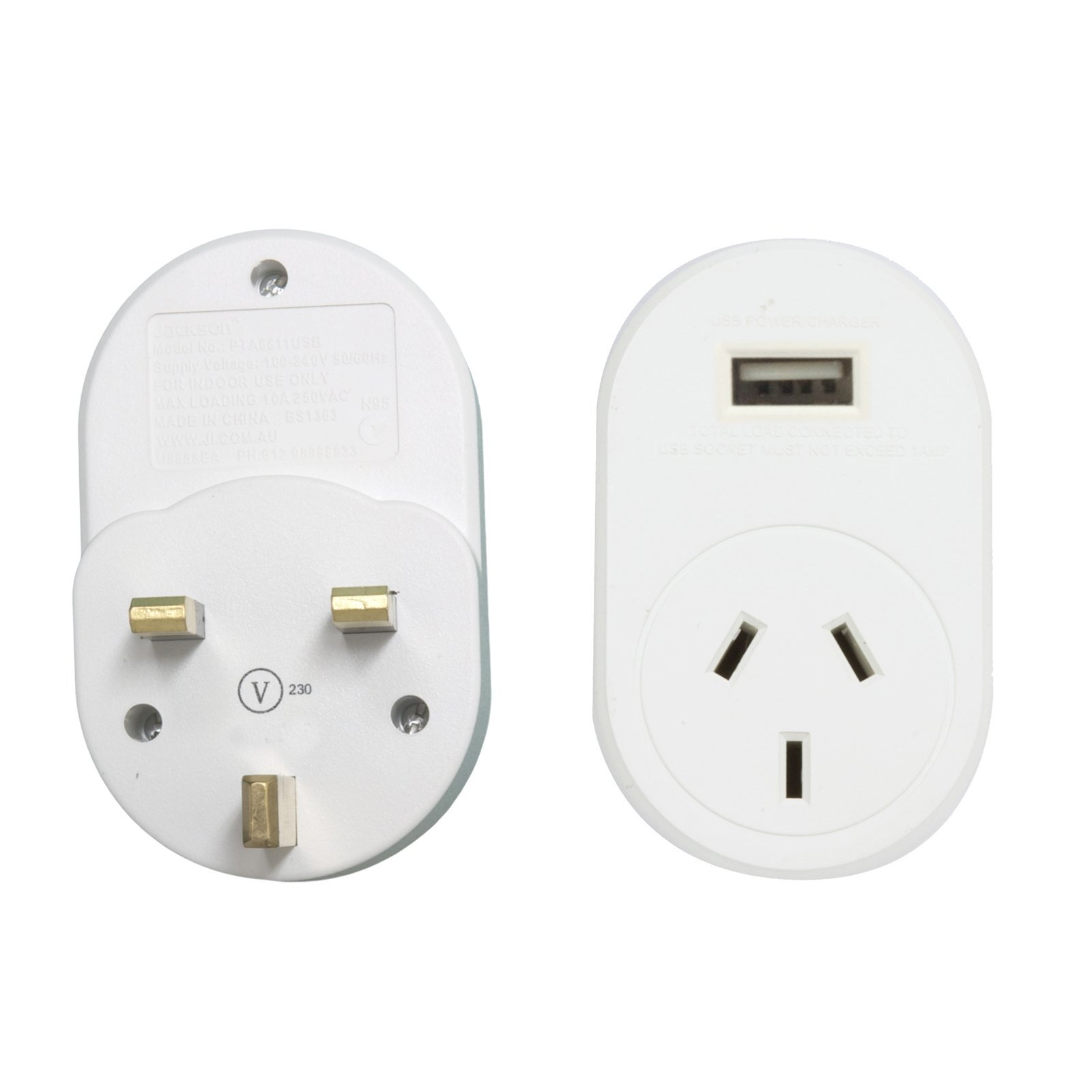 Jackson International Travel Adaptor - Outbound To UK And Hong Kong - With USB Charging Outlet