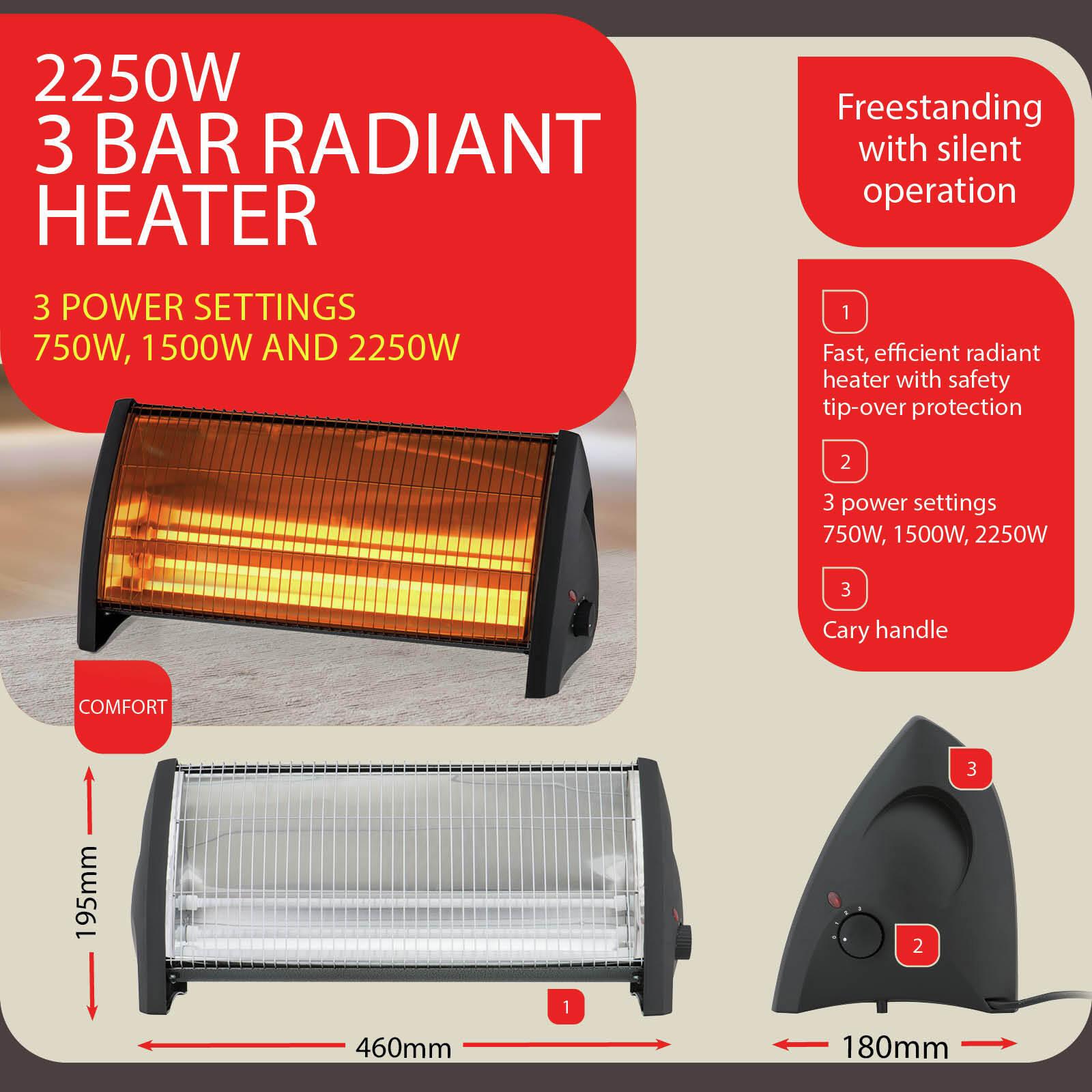 Arlec 2250W Black 3 Bar Quartz Radiant Heater