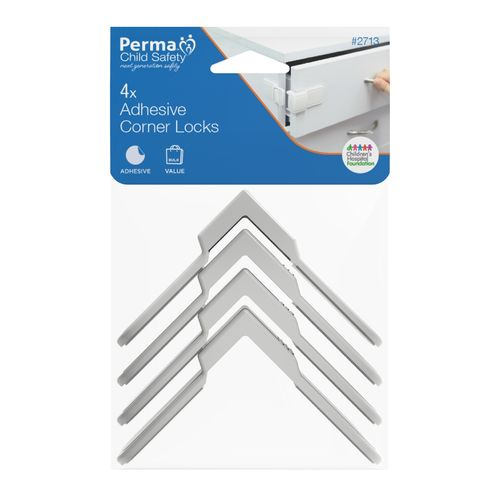 Perma Child Safety Corner Draw Locks - 4 Pack