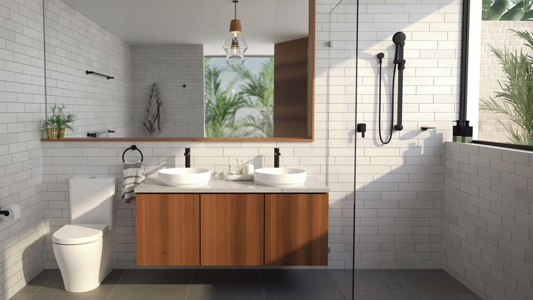 Bathroom With Black matte bathroom fittings, White basins and a timber floating vanity