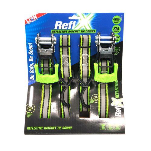 Lion 3m 340kg L/C Reflx Ratchet Tie Down - 2 Pack