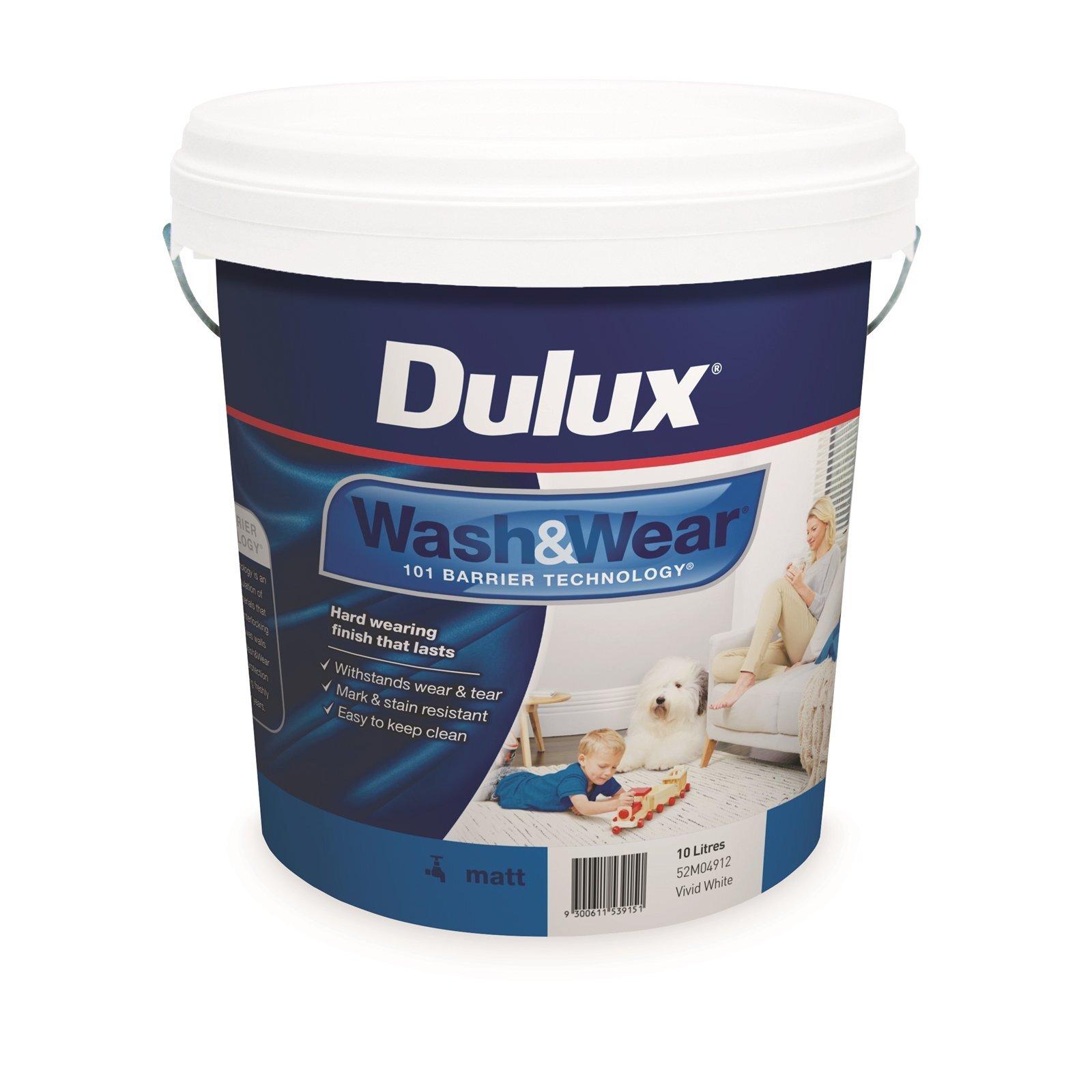 Dulux 10L Vivid White Wash & Wear Matt Interior Paint