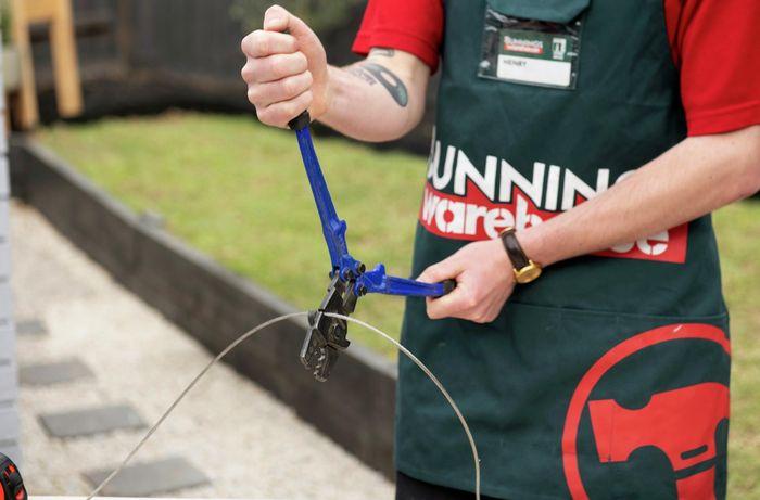 DIY - Step 3 - Measure steel wire - How to hang festoon lights