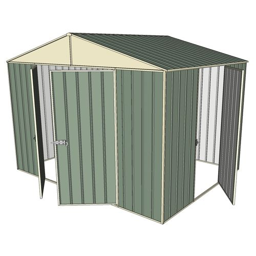 Build-a-Shed 3.0 x 2.3 x 2.3m Double Hinge and Single Sliding Door Shed - Green