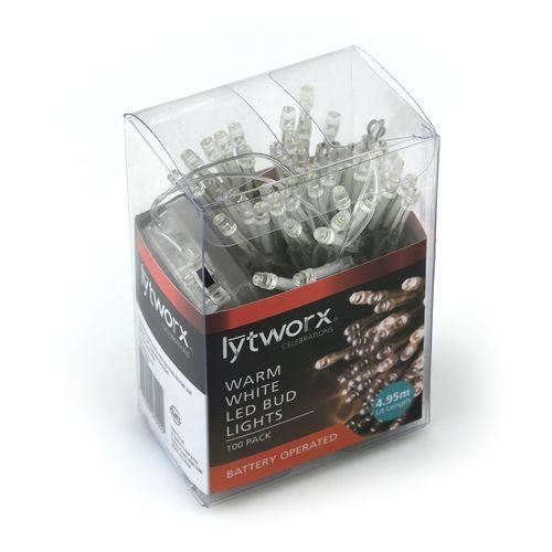 Lytworx 100 Warm White LED Battery Operated Bud Lights