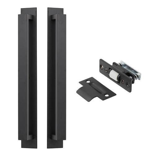 Delf Trade Matt Black Pull Handle on Plate Back To Back with Roller Bolt