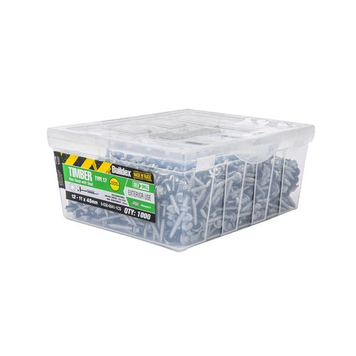 Buildex 12-11 x 45mm Climaseal Hex Head With Seal Timber Screws - 1000 Box