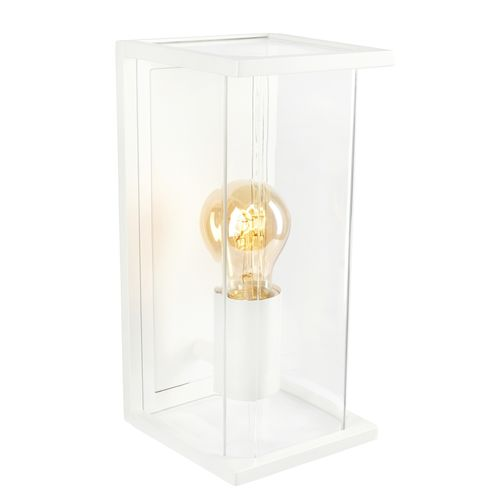 Brilliant White Haywood Exterior Wall Light With Glass