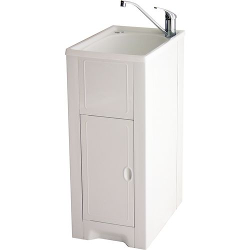 Milena 35L Poly Skinny Mini Laundry Trough And LH Door Poly Cabinet