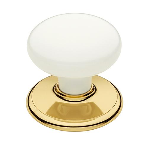 Schlage™ 45mm Bright Gold / White Classic Wardrobe Knob