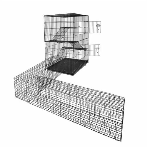RapidMesh 122 x 106 x 73.5cm Cat Enclosure With Tunnel