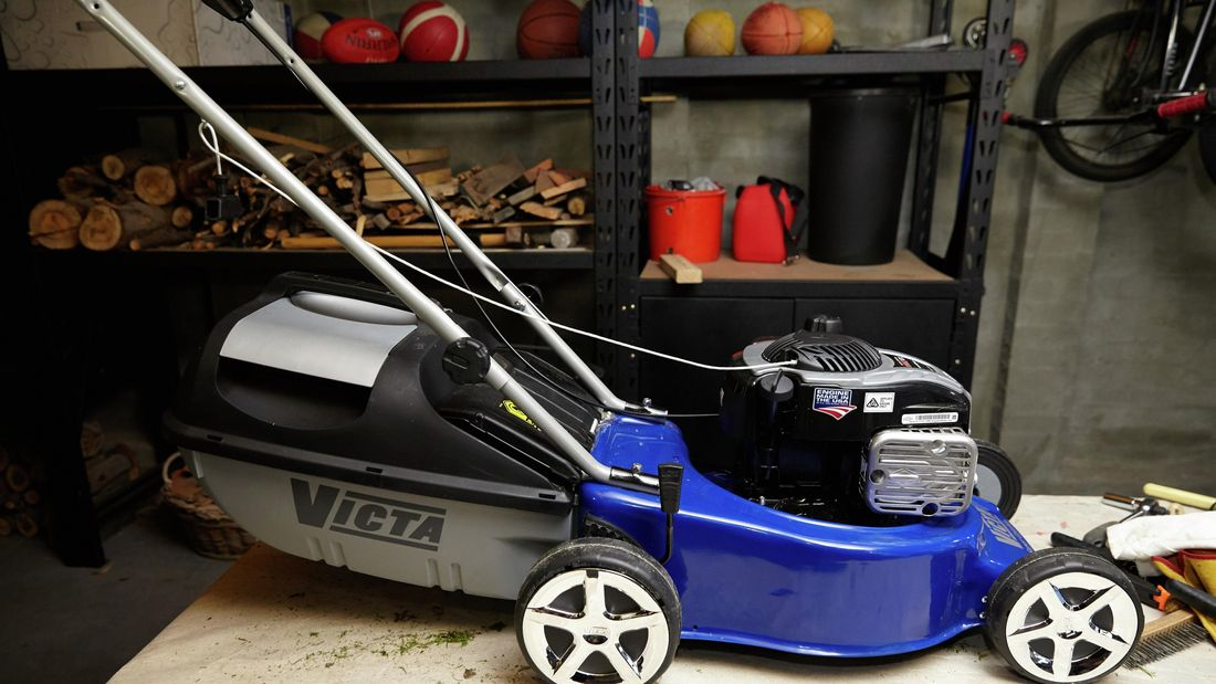 DIY Step Image - How to maintain a lawn mower . Blob storage upload.