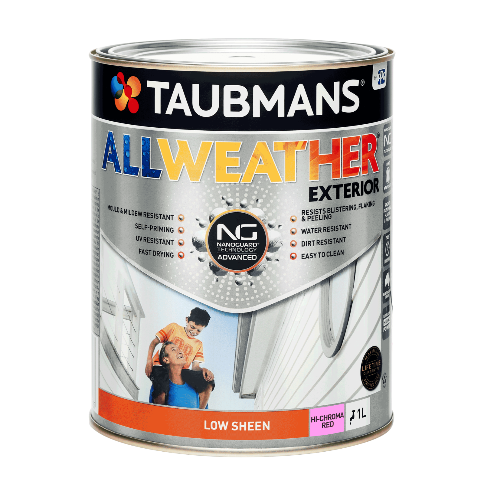 Taubmans 1L Hi C Red Low Sheen All Weather Exterior Paint