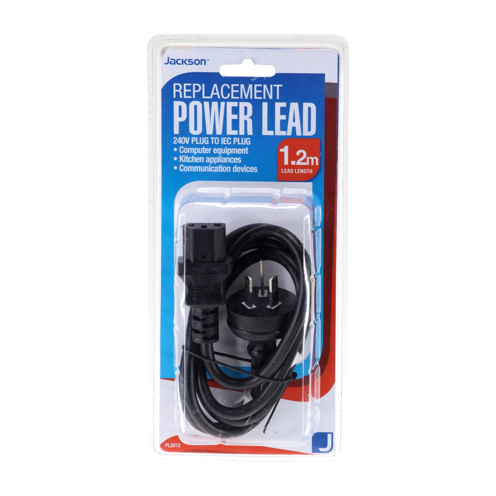 Jackson 1.2m Replacement IEC Power Lead