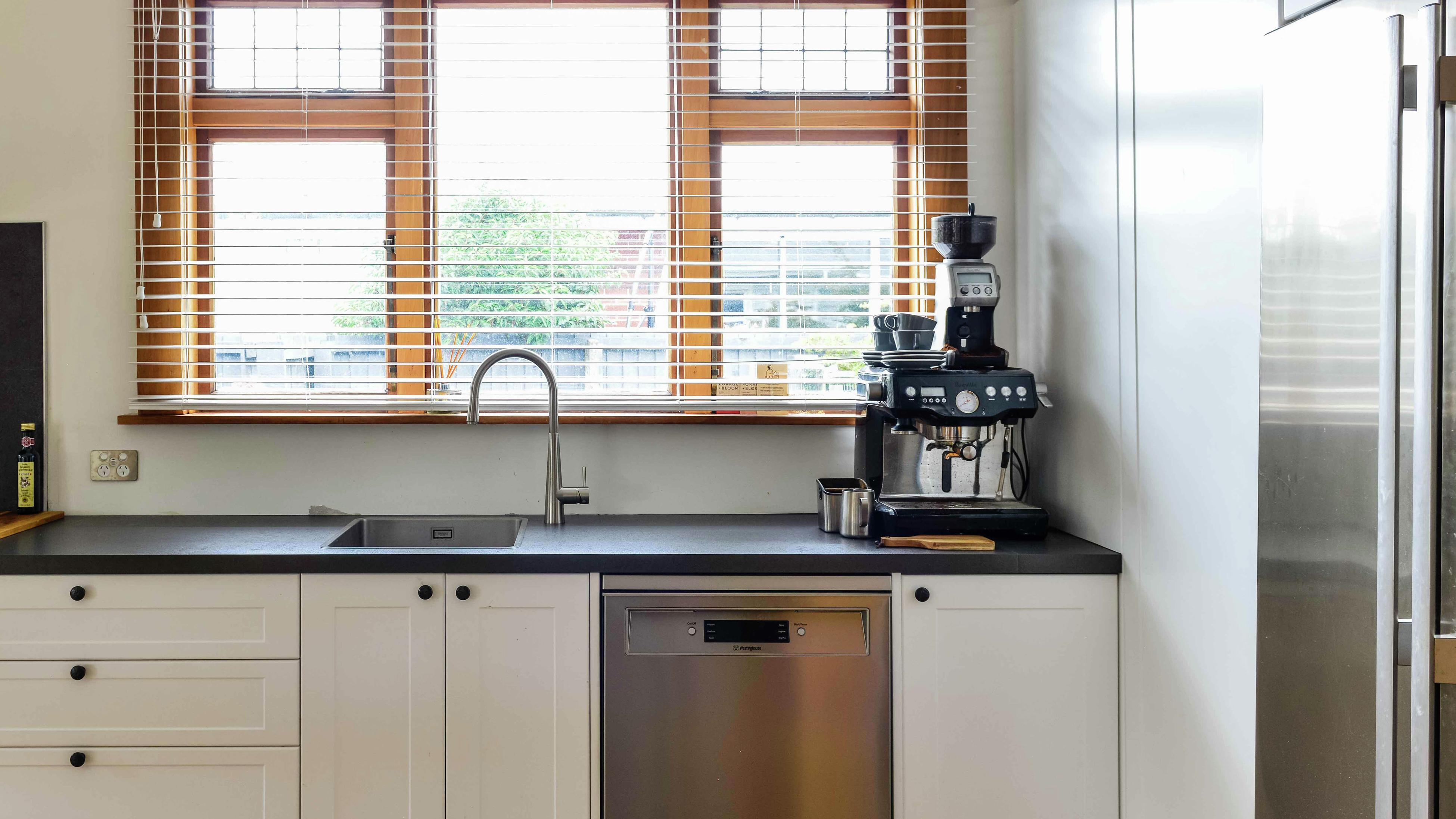 Modern kitchen bench-top and cabinets