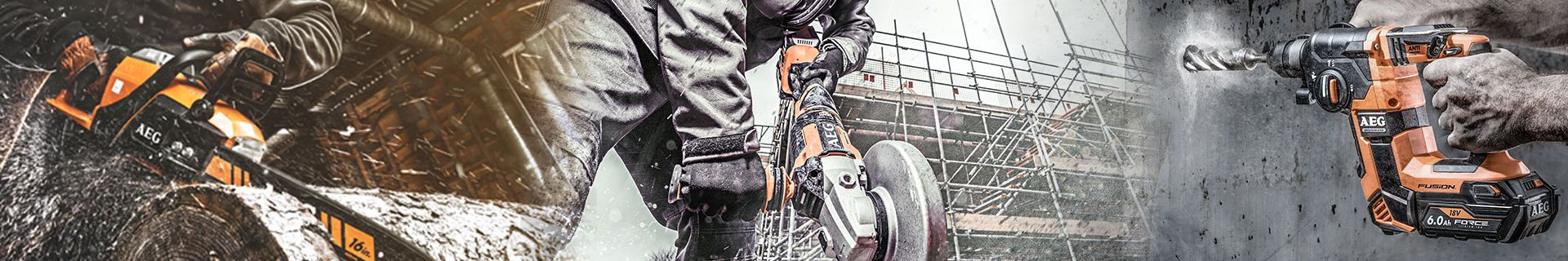Chainsaw, angle grinder and drill