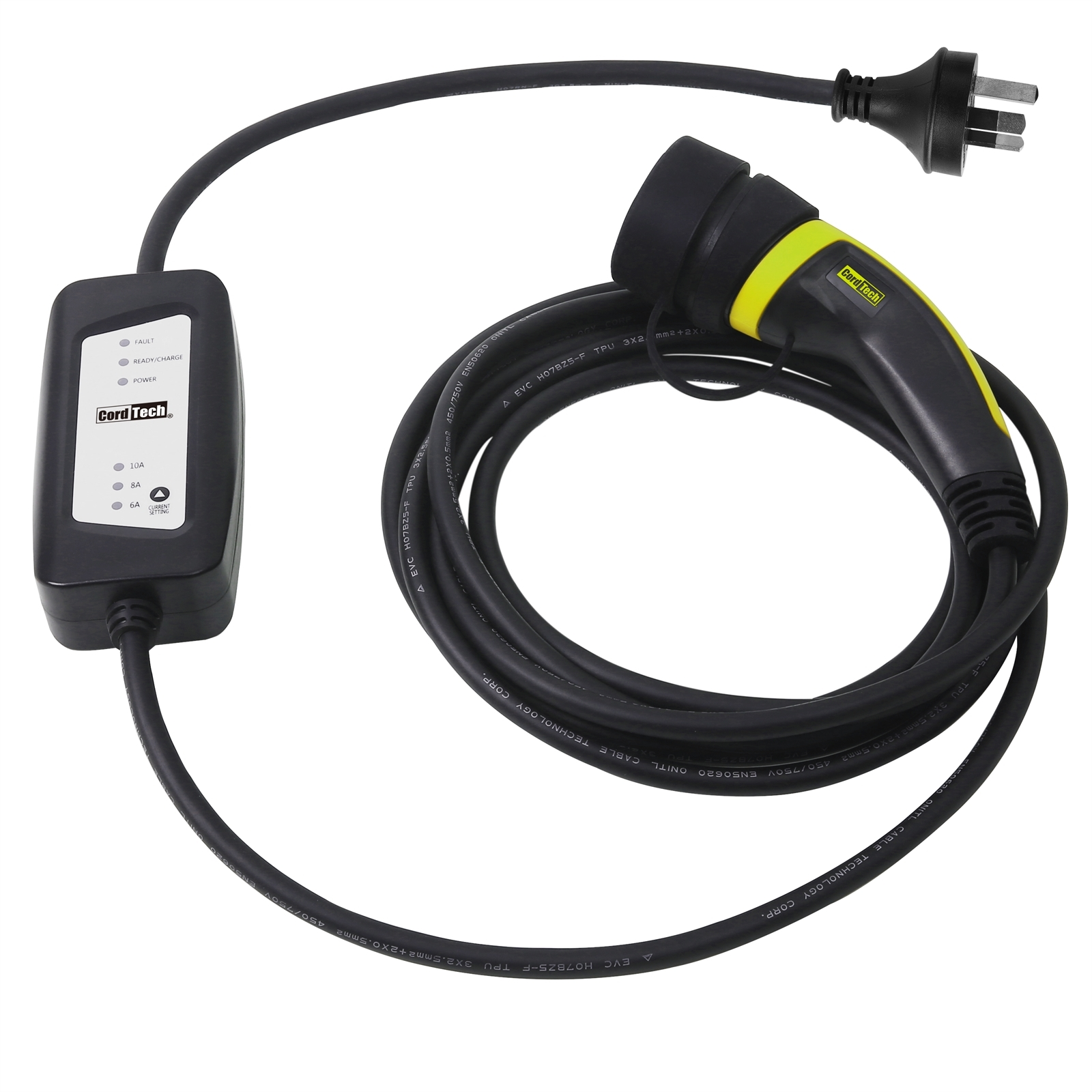 CordTech 5m Mode 2 Type 2 6A 8A 10A EV Charging Cable