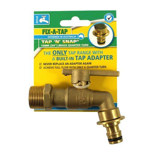 "FIX-A-TAP 19mm 3/4"" Tap N Snap Quarter Turn Garden Tap"