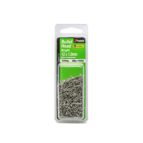 Paslode 12 x 1.0mm 100g Bright Steel Bullet Head Nails - 1150 Pack