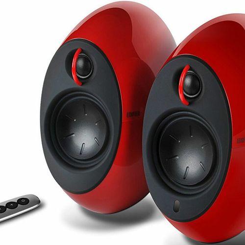 EDIFIER E25HD LUNA HD Bluetooth Speakers Red - BT 4.0/3.5mm AUX/Optical DSP/ 74W Speakers/ Curved design/Dual 2x3 Passive Bass/W