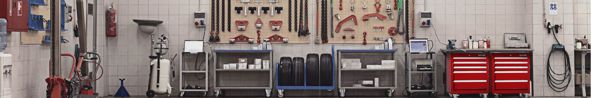 Garage with tools and workbenches.