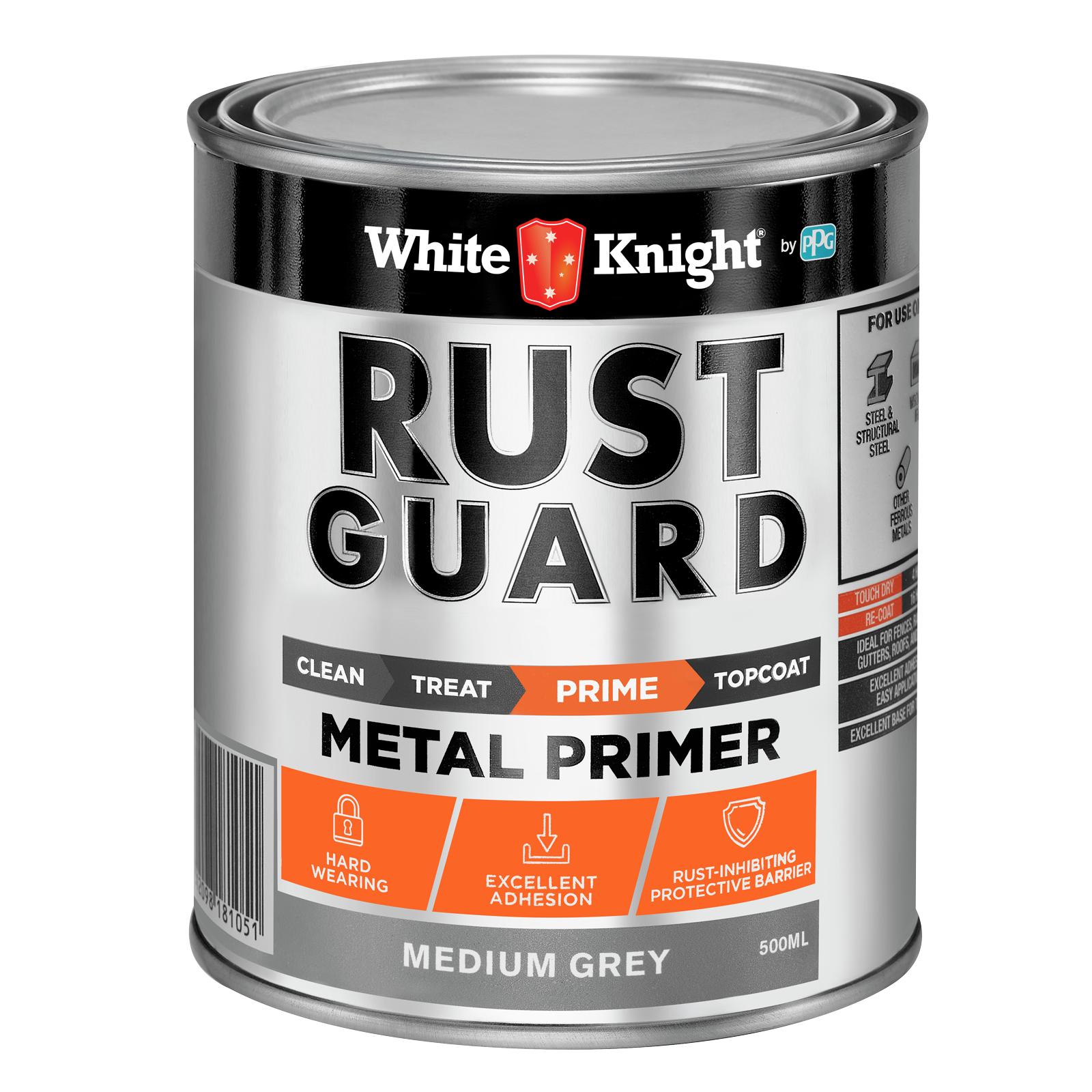 White Knight Rust Guard Medium Grey Metal Primer Paint - 0.5L