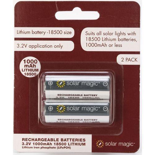 Solar Magic 1000mAh Lithium Ion Rechargeable Batteries - 2 Pack