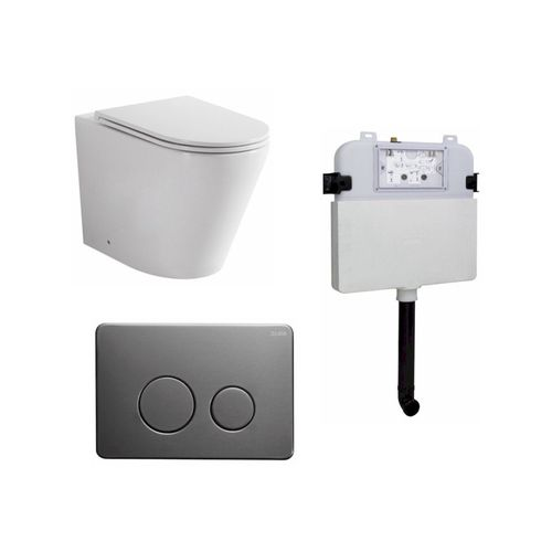 Zumi Java Concealed Cistern With Round Stainless Steel Gun Metal Flush Plate And Pan