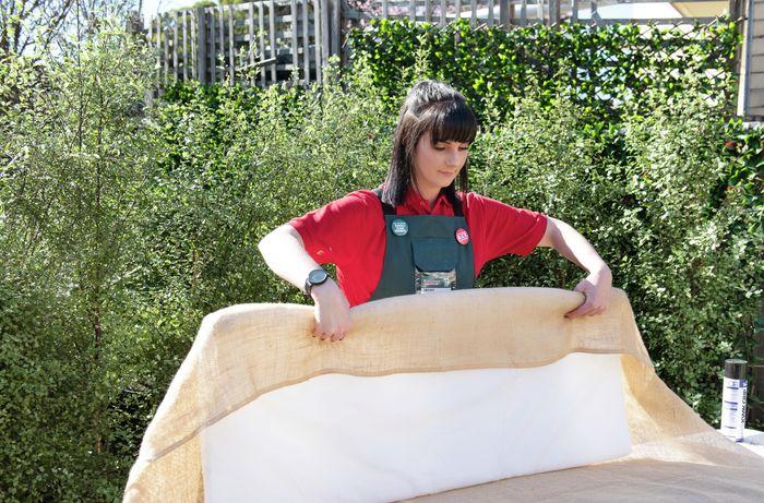 DIY Step Image - How to make a hessian bedhead. Blob storage upload.