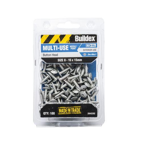 Buildex 8-15 x 15mm Zinc Alloy Button Head Needle Point Screws - 100 Pack