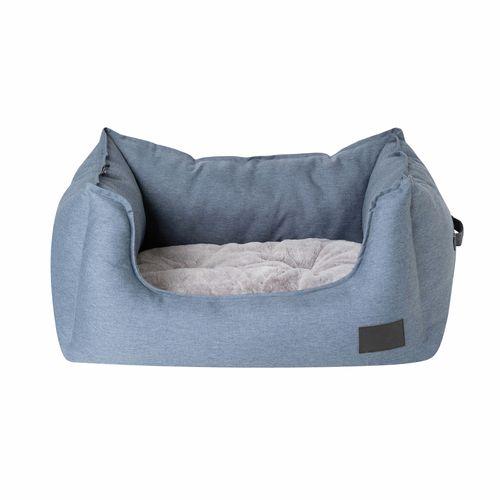 La Doggie Vita Water Resistant Steel Blue High Side Square Bed
