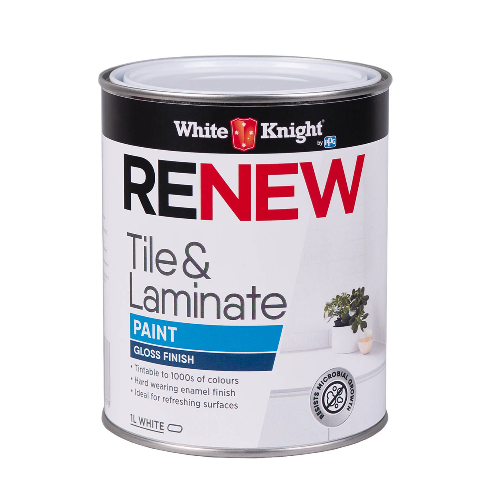 White Knight 1L White Gloss Renew Tile And Laminate Paint