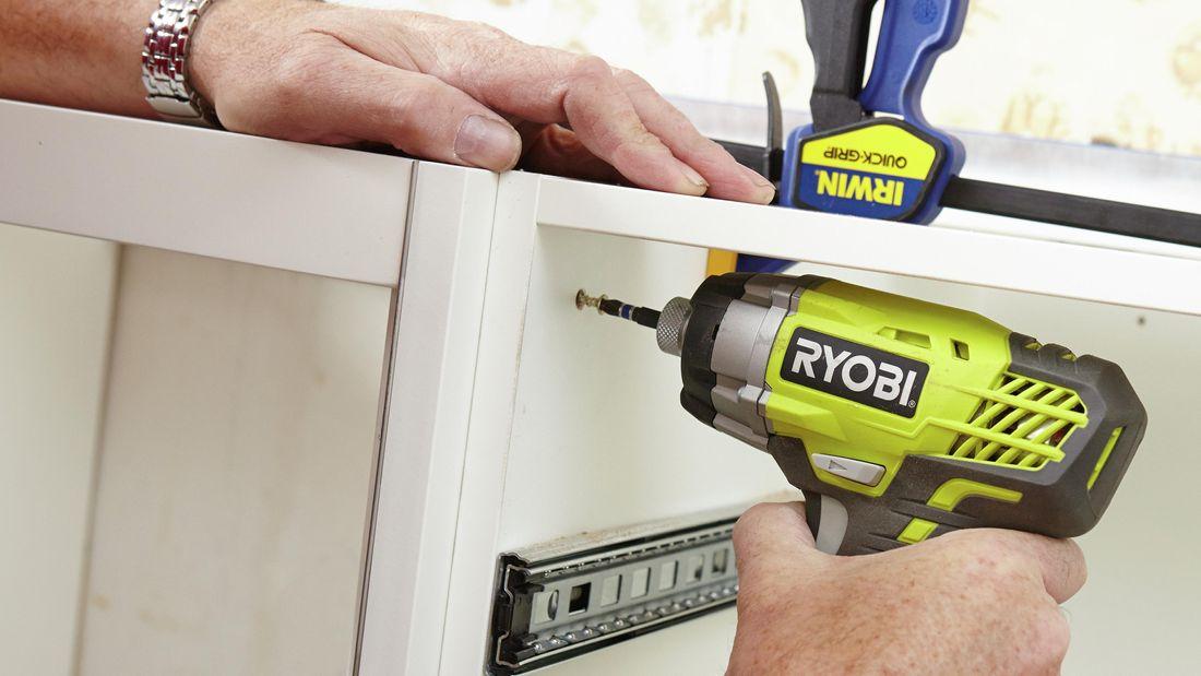DIY Step Image - How to install U-shaped kitchen cabinets . Blob storage upload.