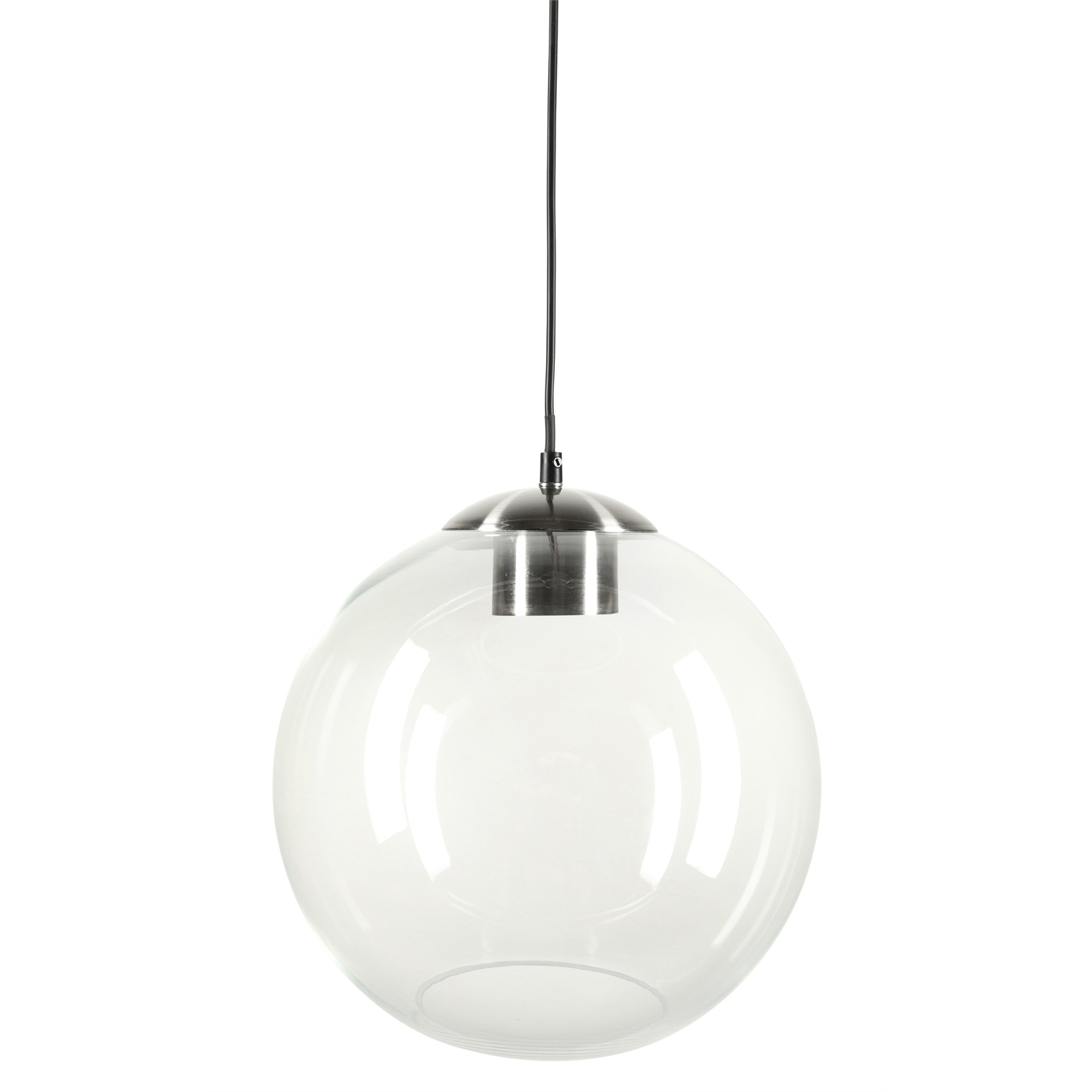 Brilliant 30cm Meridian Glass with Brushed Nickel Large Modern Classic Pendant Light