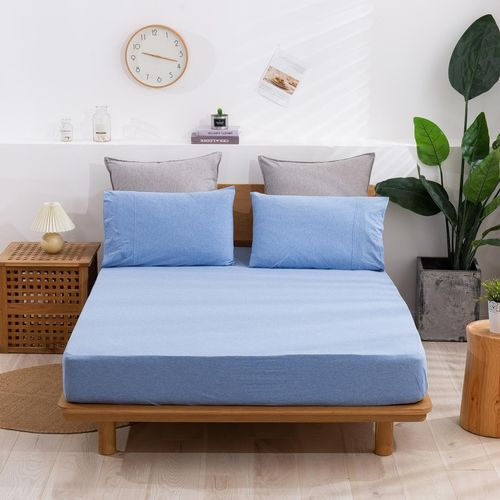 Dreamaker Cotton Jersey Fitted Sheet Sky Blue