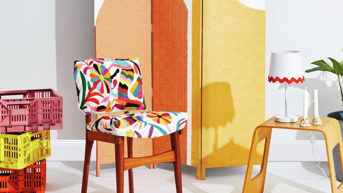 Retro wooden dining chair with colourful upholstery