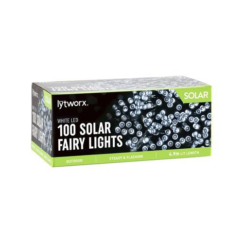 Lytworx 100 White 2 Function Solar LED Fairy Lights