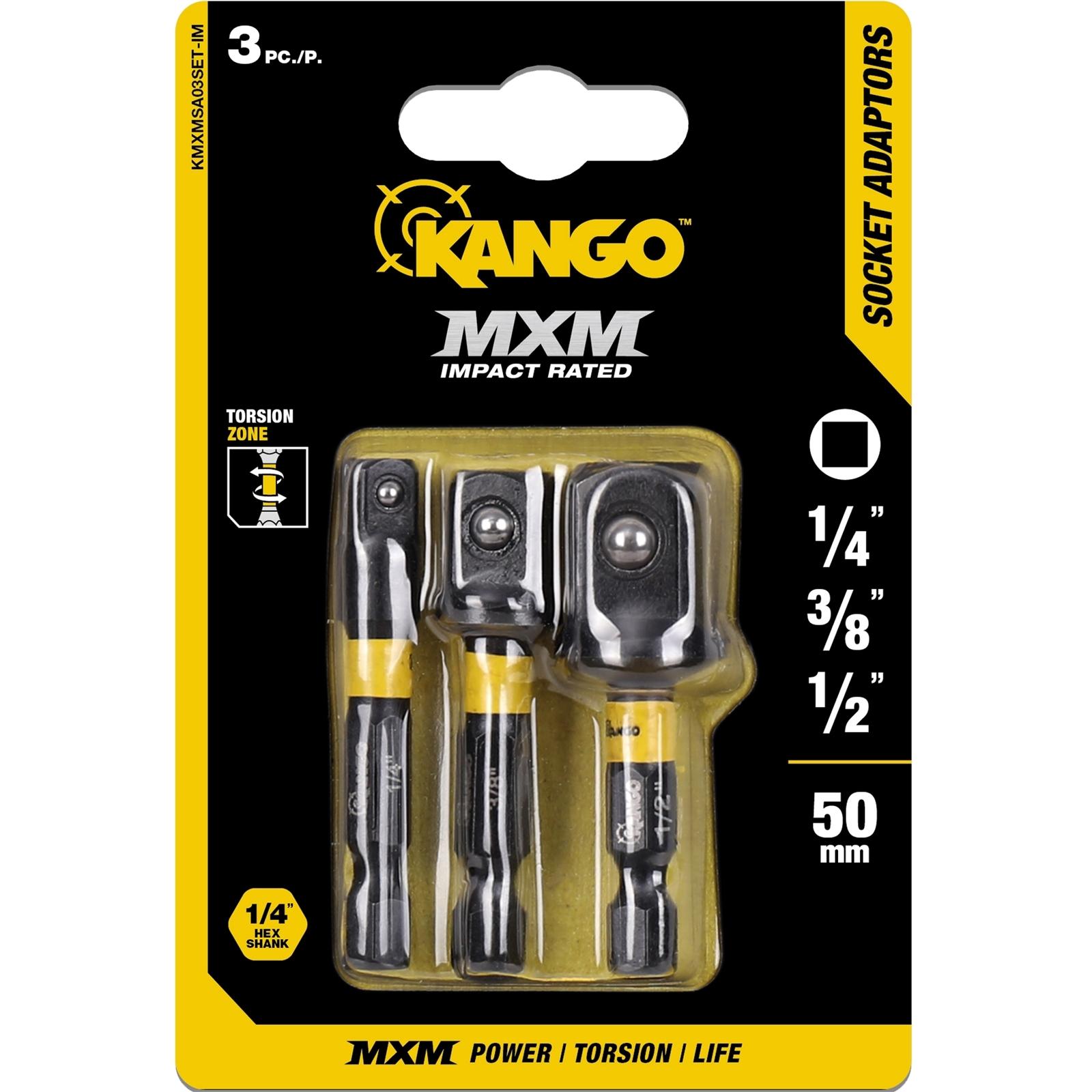 Kango 3 Piece Impact MXM Socket Adaptors Set