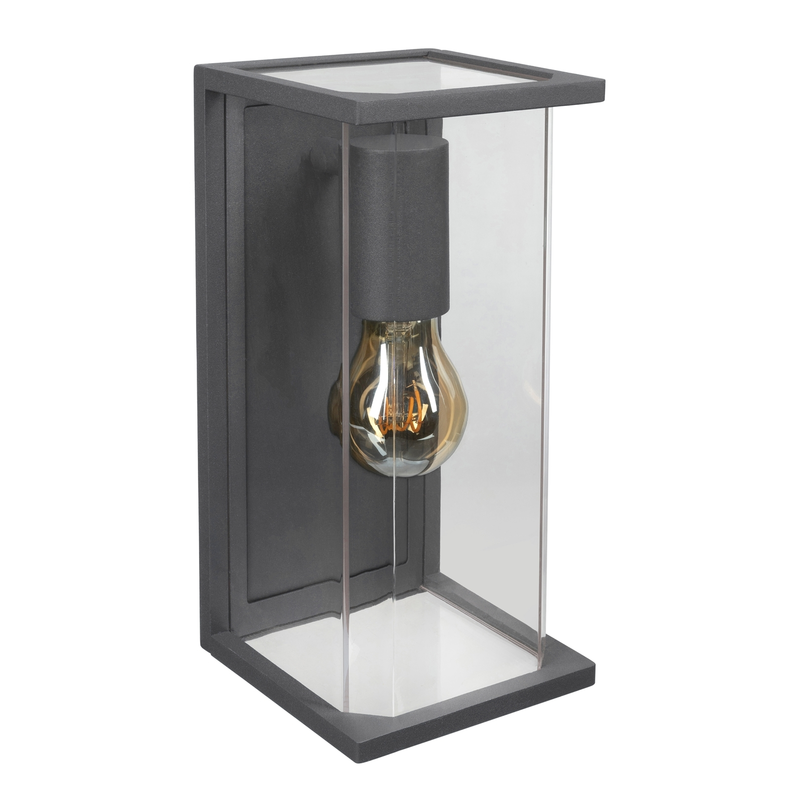 Brilliant Charcoal Haywood Exterior Wall Light With Glass