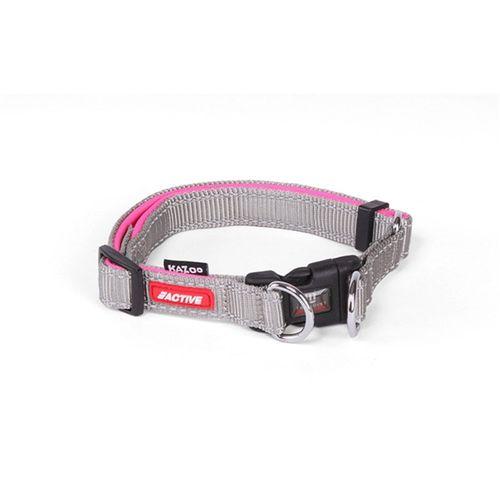 Kazoo Active Adjustable Nylon Dog Collar Silver & Pink Small