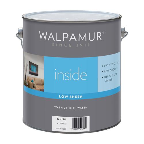 Walpamur Inside 4L White Low Sheen Interior Paint